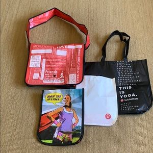 Four lululemon useable tote bags
